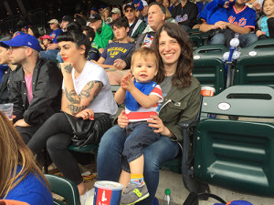 Jill Schwartzman at a Mets game with her son.