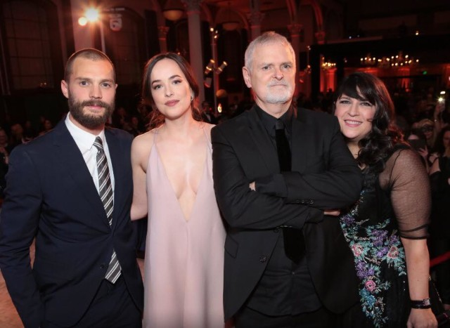 Pictured (left to right) Jamie Dornan, Dakota Johnson, James Foley and E L James